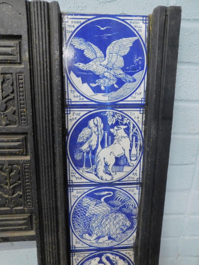 Pair of Aesthetic Movement Cast Fire Inserts with Mintons Aesop's Fables Tiles For Sale 2