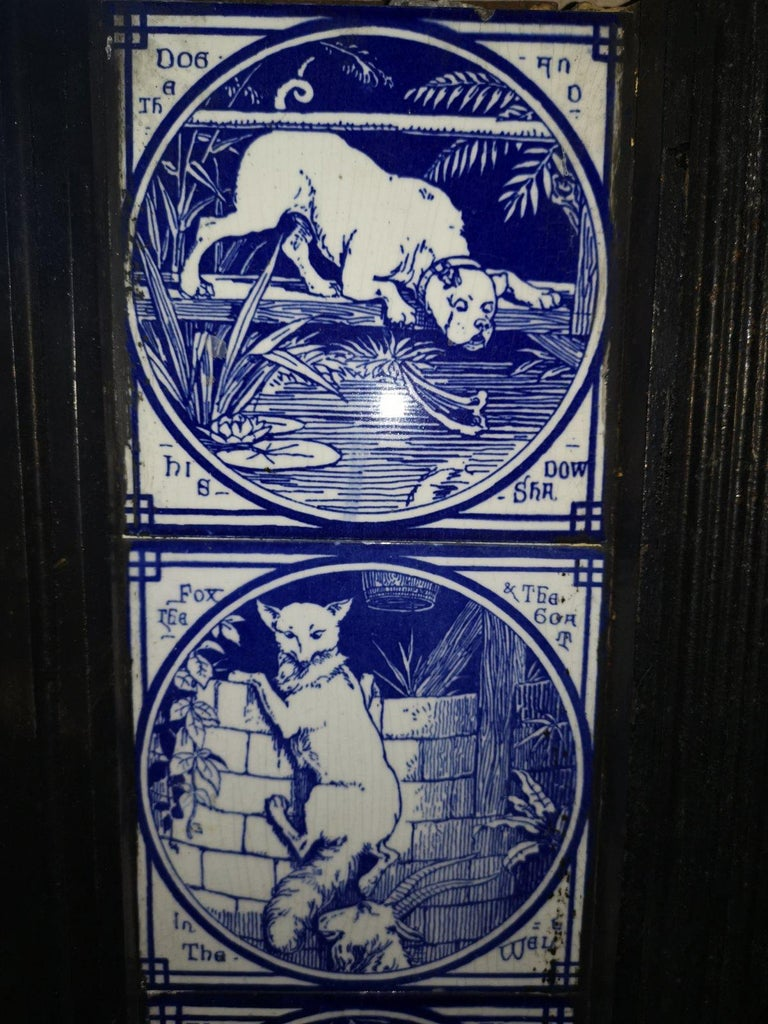 Pair of Aesthetic Movement Cast Fire Inserts with Mintons Aesop's Fables Tiles For Sale 4
