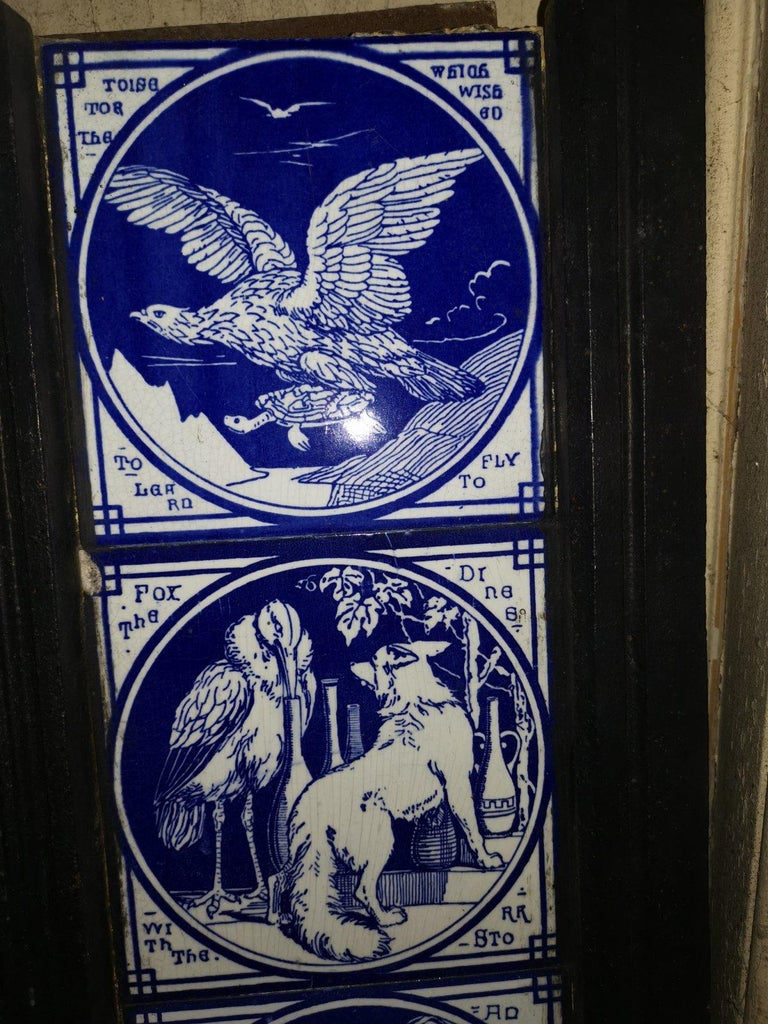 Pair of Aesthetic Movement Cast Fire Inserts with Mintons Aesop's Fables Tiles For Sale 7