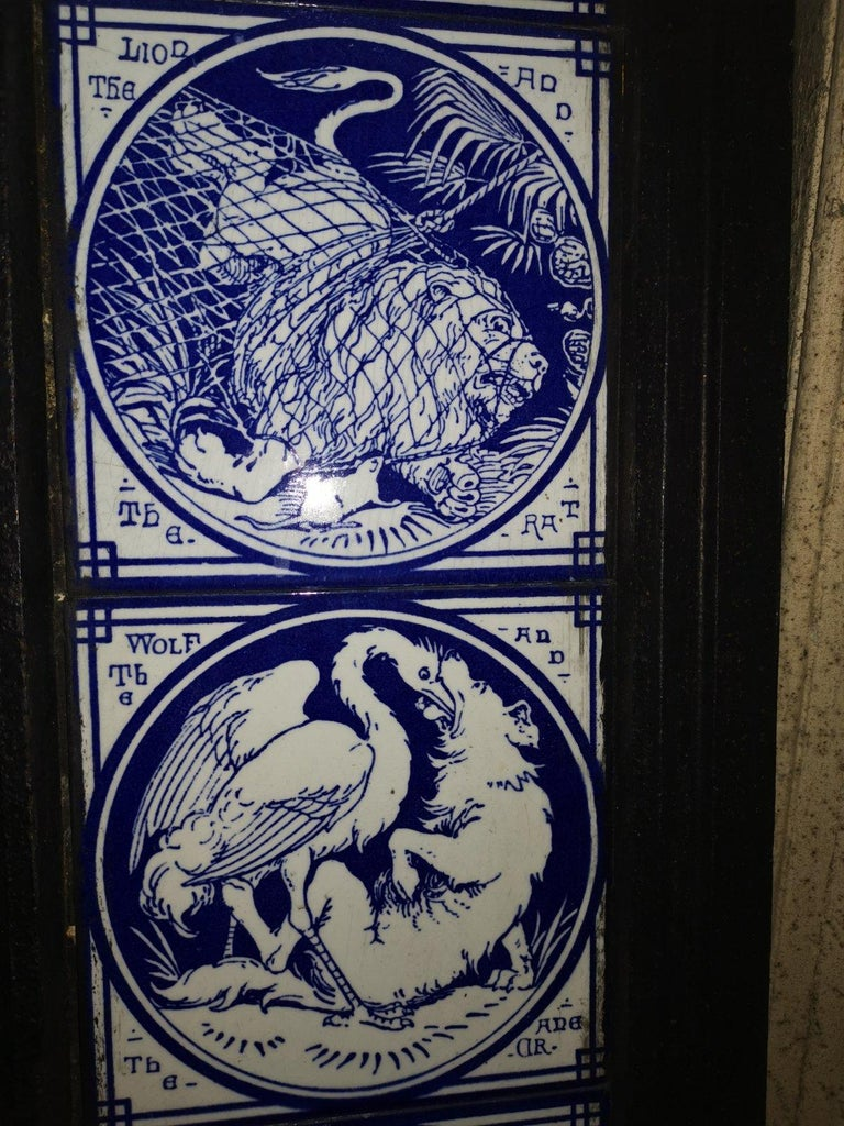 Pair of Aesthetic Movement Cast Fire Inserts with Mintons Aesop's Fables Tiles For Sale 8