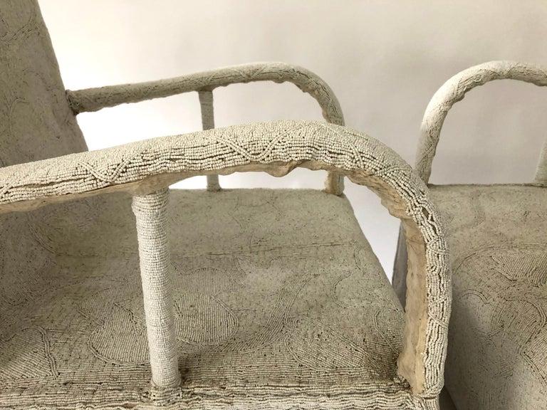 Cotton Pair of African Yoruba Beaded Armchairs