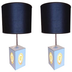 Pair of Agate, Chrome and Raffia Shade Midcentury Italian Table Lamps, 1960