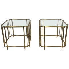 Pair of Aged Brass and Glass Side Tables by Mastercraft
