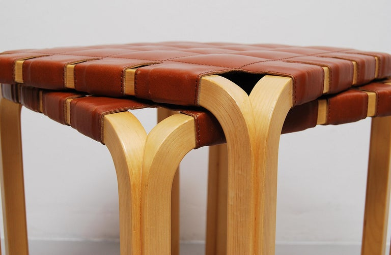 20th Century Pair of Alvar Aalto Y61 Stools with Original Leather Seats For Sale
