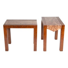 Pair of Amboyna Side Tables with Alicante Marble Tops