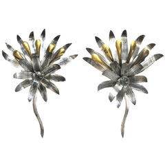 A Pair of American Art Deco Tole & Brass Foliate-Form Sconces Centering Glass Spheres