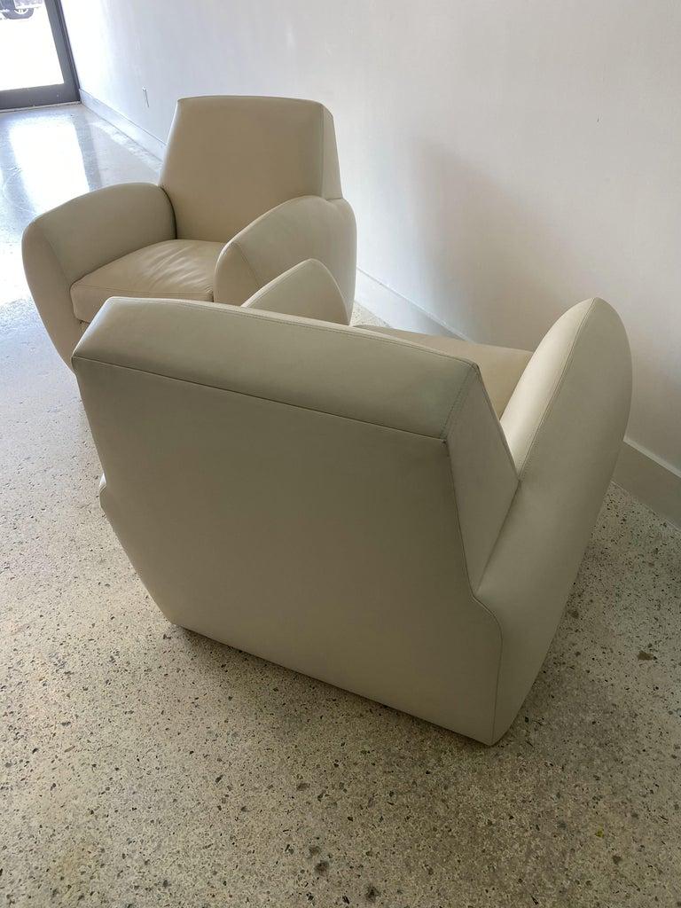 Pair of American Modern Cream Leather Ken Zu Club Chairs, Dakota Jackson For Sale 2