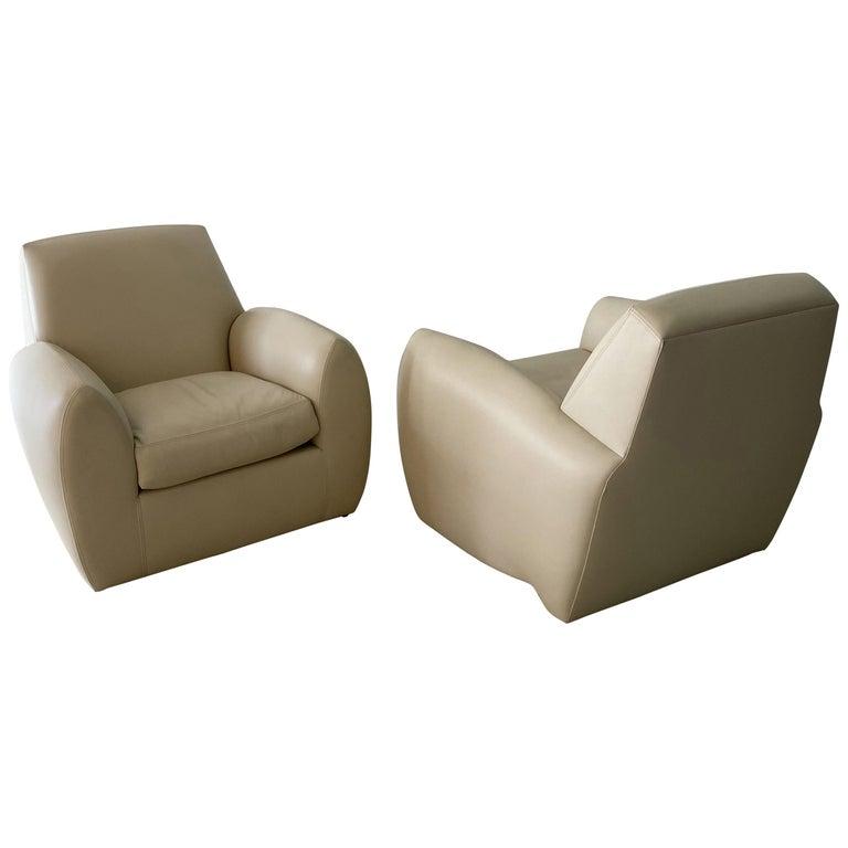 Pair of American Modern Cream Leather Ken Zu Club Chairs, Dakota Jackson For Sale