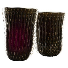 Pair of Amethyst and Gold Murano Glass Vases, Signed