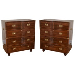 Pair of Anglo Indian Mahogany Campaign Chests