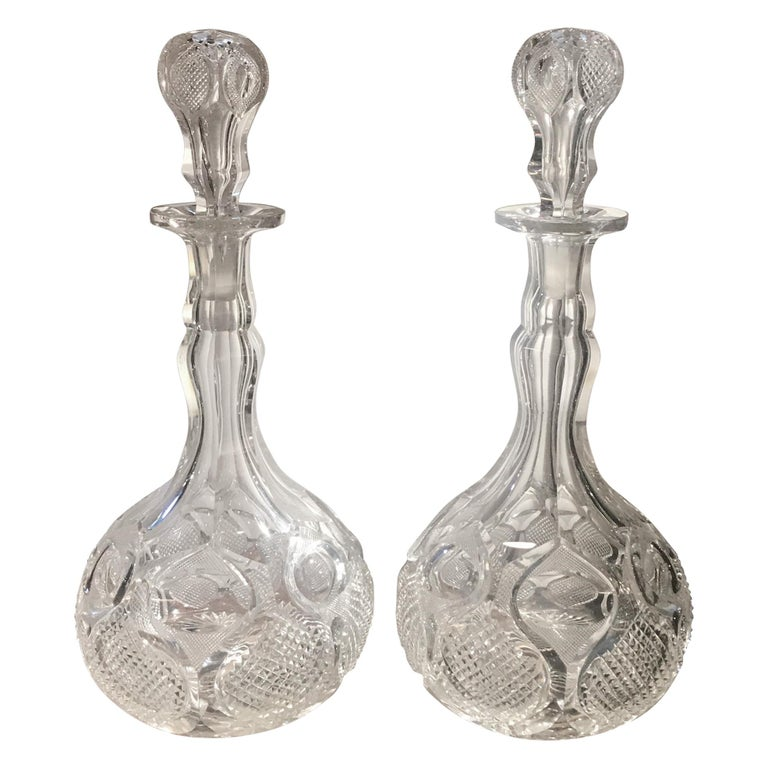 Pair of Antique 19th Century English Cut-Glass Decanters For Sale