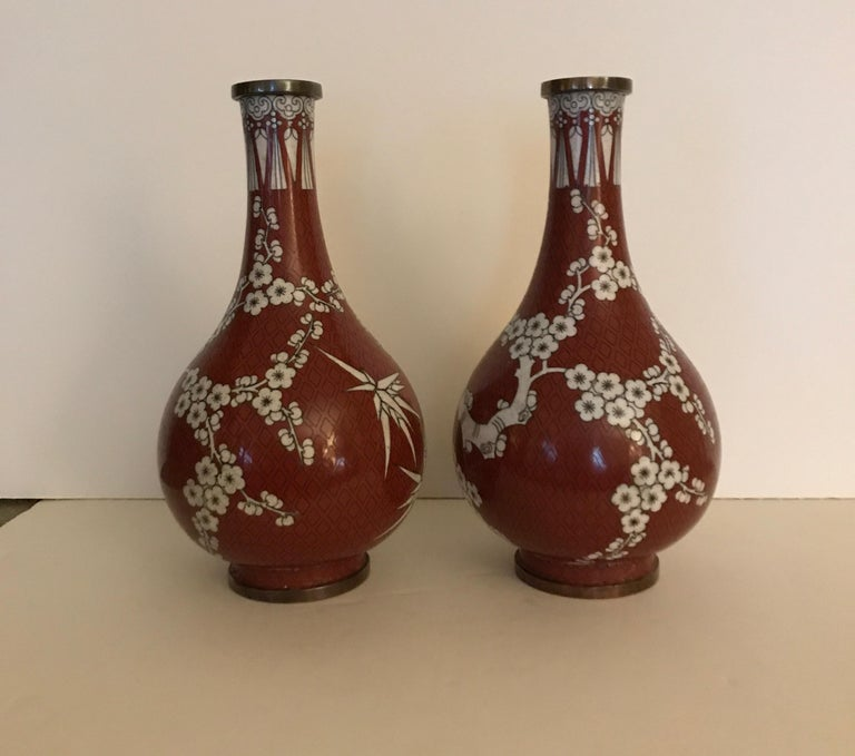Pair of Antique Chinese Cloisonné Gord Form Vases, circa 1900 For Sale 5