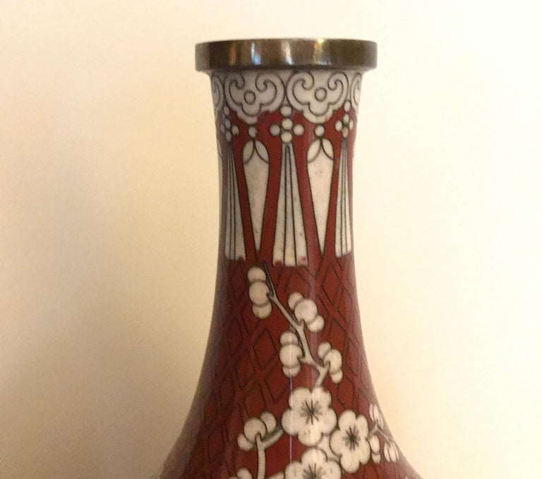 Chinese Export Pair of Antique Chinese Cloisonné Gord Form Vases, circa 1900 For Sale