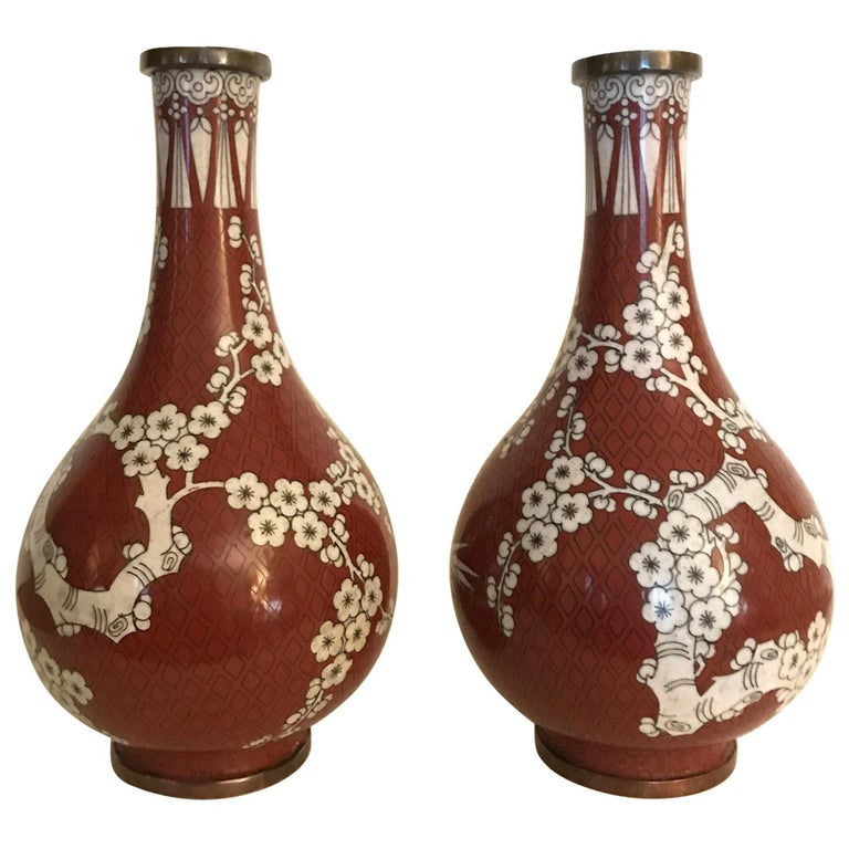 Pair of Antique Chinese Cloisonné Gord Form Vases, circa 1900 For Sale