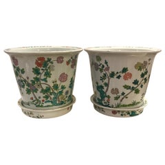 Pair of Antique Chinese Famille Porcelain Planters with Underplates