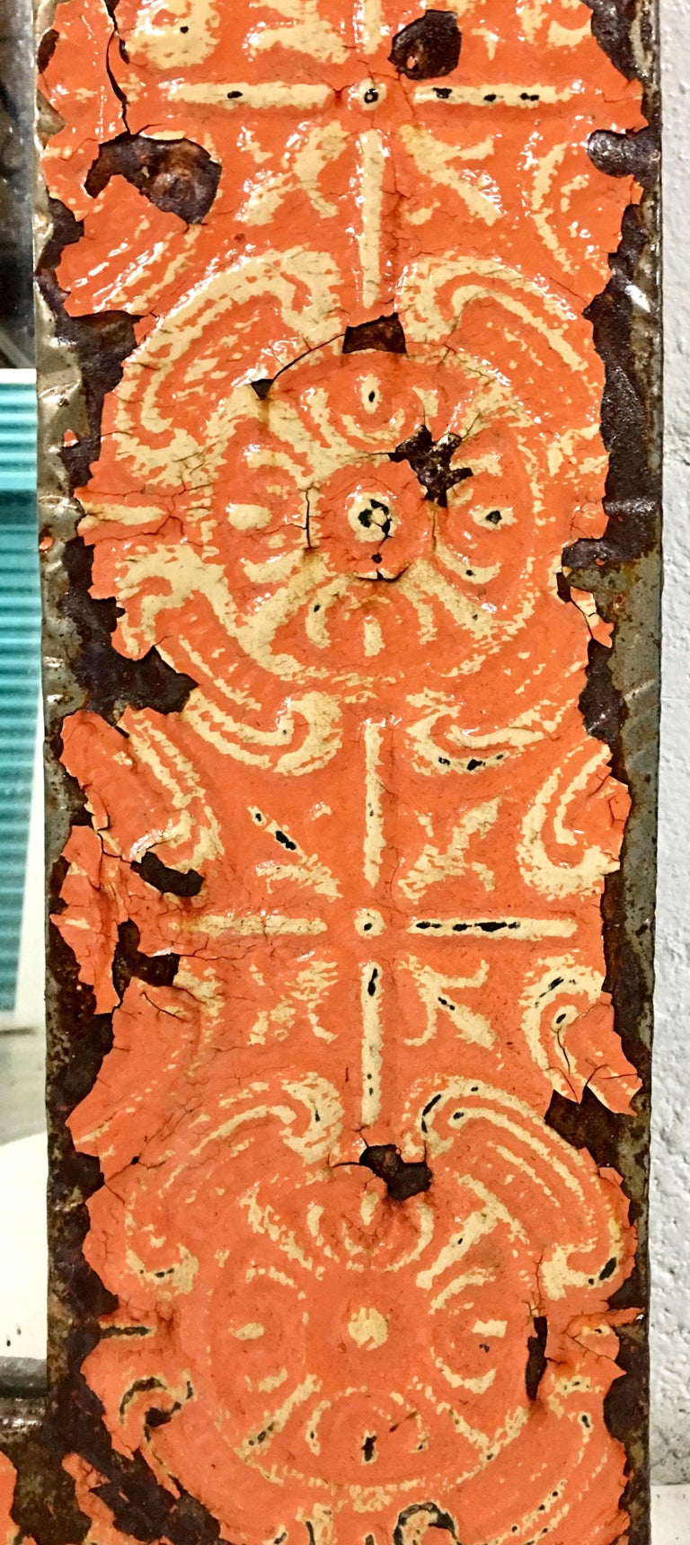 A Pair Of Antique Copper Ceiling Tile Framed Mirrors-New York City For Sale 3
