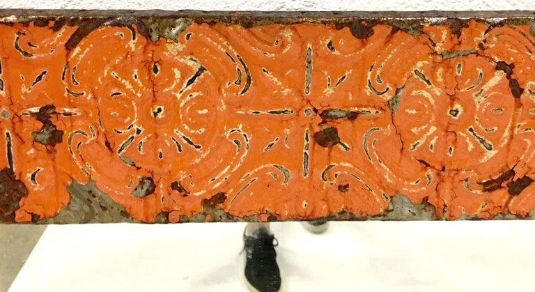 A Pair Of Antique Copper Ceiling Tile Framed Mirrors-New York City For Sale 4