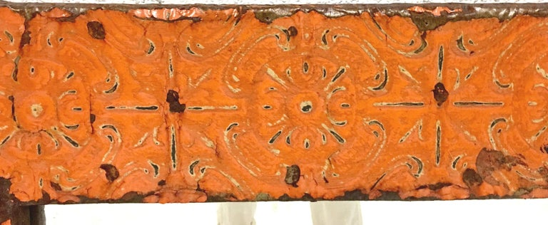 A Pair Of Antique Copper Ceiling Tile Framed Mirrors-New York City For Sale 5