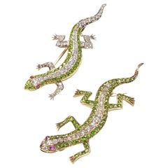 Pair of Antique Demantoid Garnet Ruby Diamond and Gold Salamander Brooches