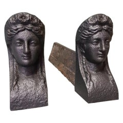 Pair of Antique French Andirons with a Woman's Head, from the 19th Century