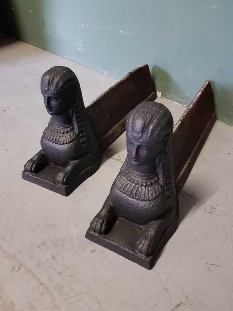 A pair of Antique French cast iron fireboks with Sphinxes on the front, both are in good but used condition. Originating from the 19th century.  The measurements are, Depth 42 cm/ 16.5 inch. Width 11.5 cm/ 4.5 inch. Height 18 cm/ 7 inch.