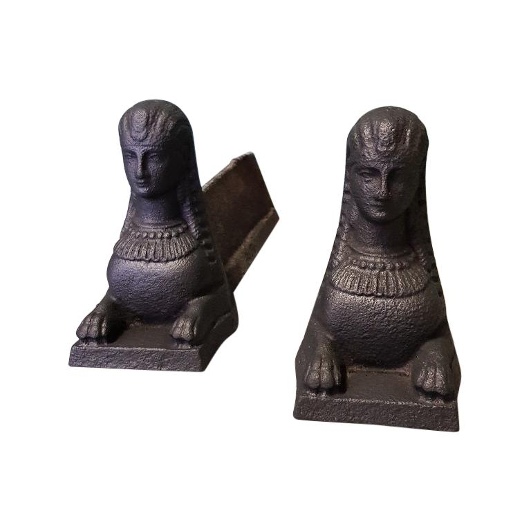 Pair of Antique French Cast Iron Andirons with Sphinxes For Sale