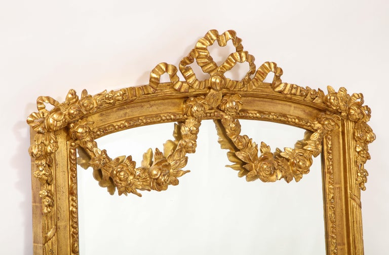 Pair of Antique French Louis XVI Style Hand Carved Giltwood Mirrors For Sale 6