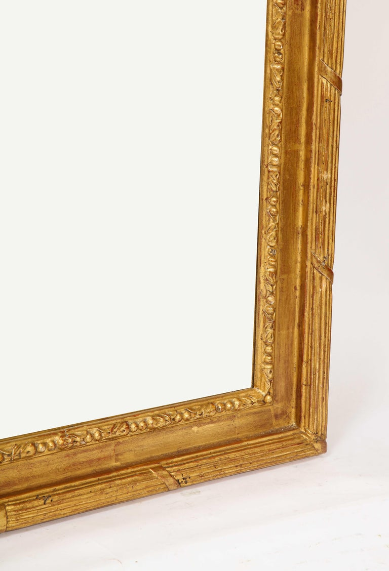 Pair of Antique French Louis XVI Style Hand Carved Giltwood Mirrors For Sale 11
