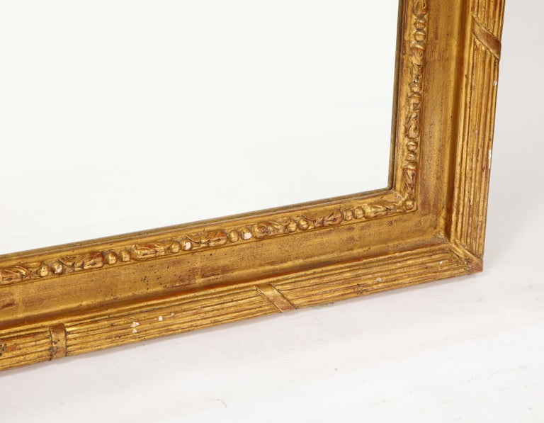 Pair of Antique French Louis XVI Style Hand Carved Giltwood Mirrors For Sale 12