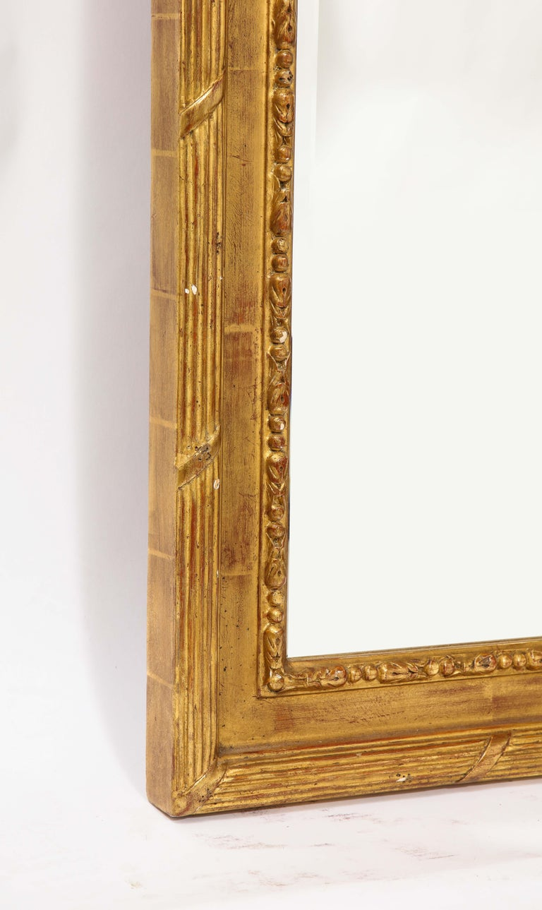 Pair of Antique French Louis XVI Style Hand Carved Giltwood Mirrors For Sale 13