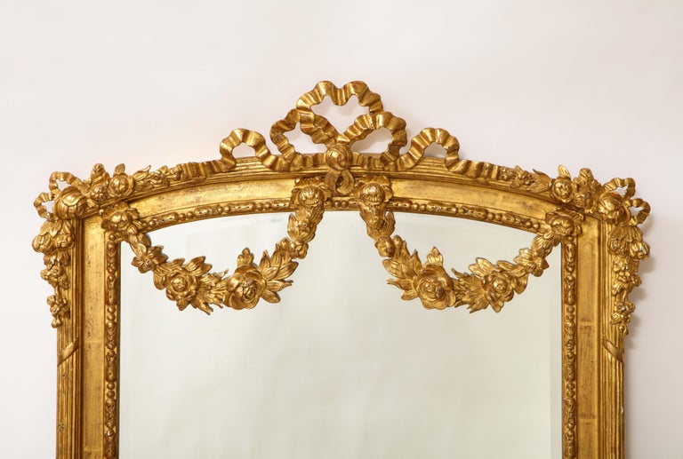 Pair of Antique French Louis XVI Style Hand Carved Giltwood Mirrors For Sale 2