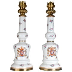 A Pair of Antique French Samson Porcelain Polychromed Porcelain & Bronze Lamps