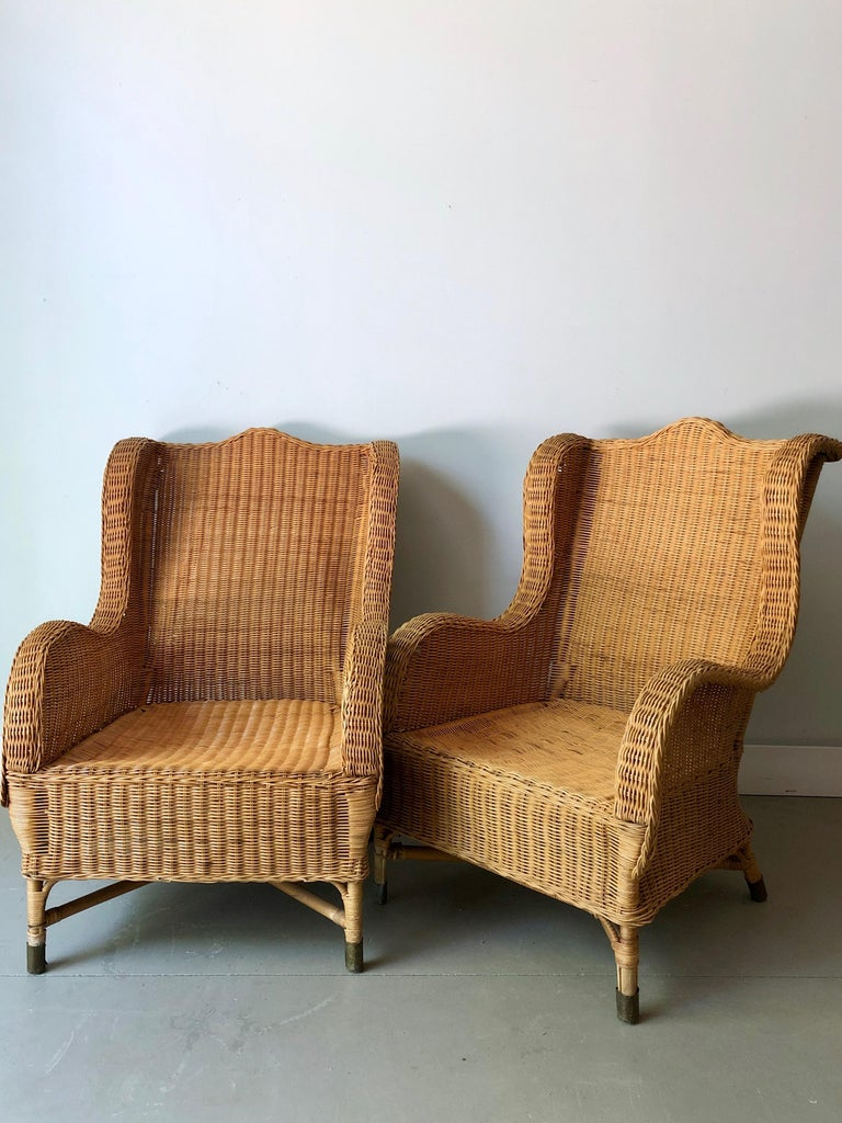 Pair of Antique French Wicker/Rattan Lounge Armchairs at ...