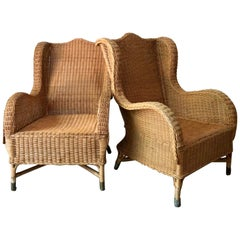 Pair of Antique French Wicker/Rattan Lounge Armchairs