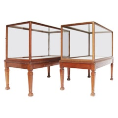 Pair of Antique Glazed Museum Display Cabinets