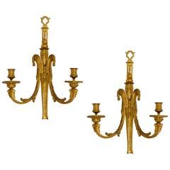 Pair of Antique Louis XVI Style Bronze Sconces