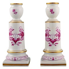 Pair of Antique Meissen Pink Indian Candlesticks in Hand-Painted Porcelain