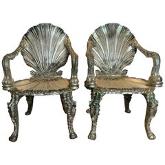 Pair of Antique Silver Leaf Grotto Chairs