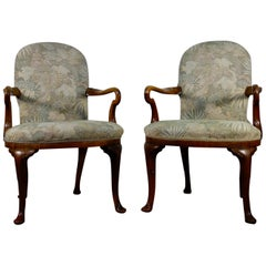 Pair of Antique Tapestry Upholstered George I Style Shepherd Crook Armchair