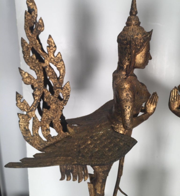 Pair of Antique Thai Winged Goddess Statues For Sale 4