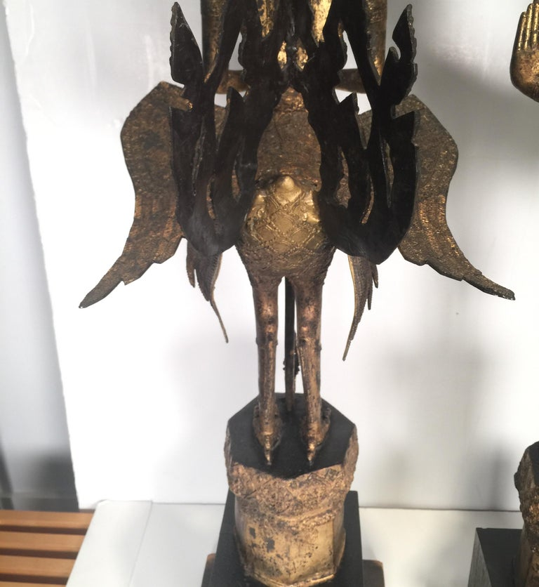 Pair of Antique Thai Winged Goddess Statues For Sale 6