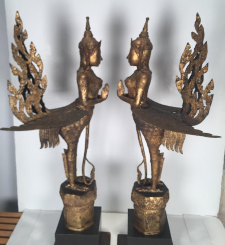 Gilt Pair of Antique Thai Winged Goddess Statues For Sale