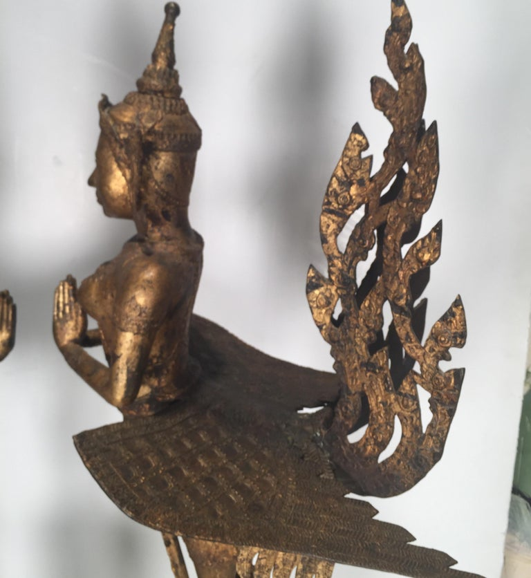 Pair of Antique Thai Winged Goddess Statues For Sale 3