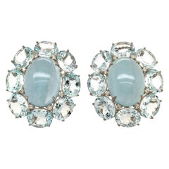 Pair of Aquamarine and White Gold Earrings
