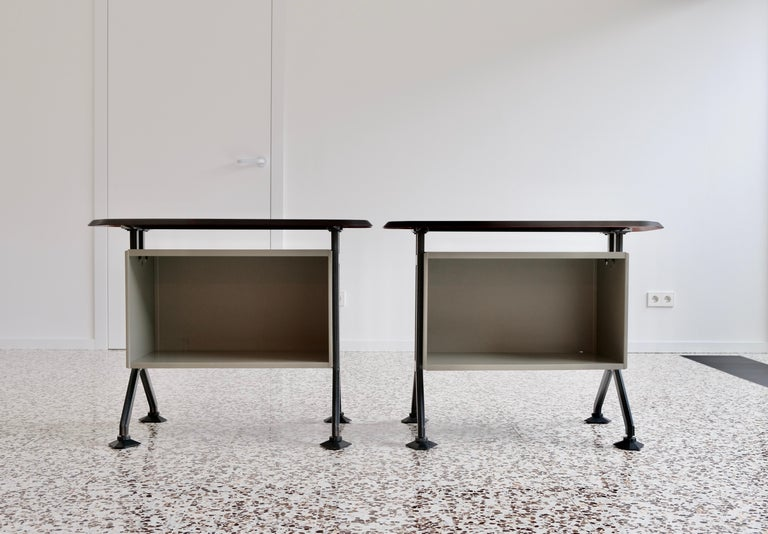 A very rare pair of Arco system is sideboards or side desks or