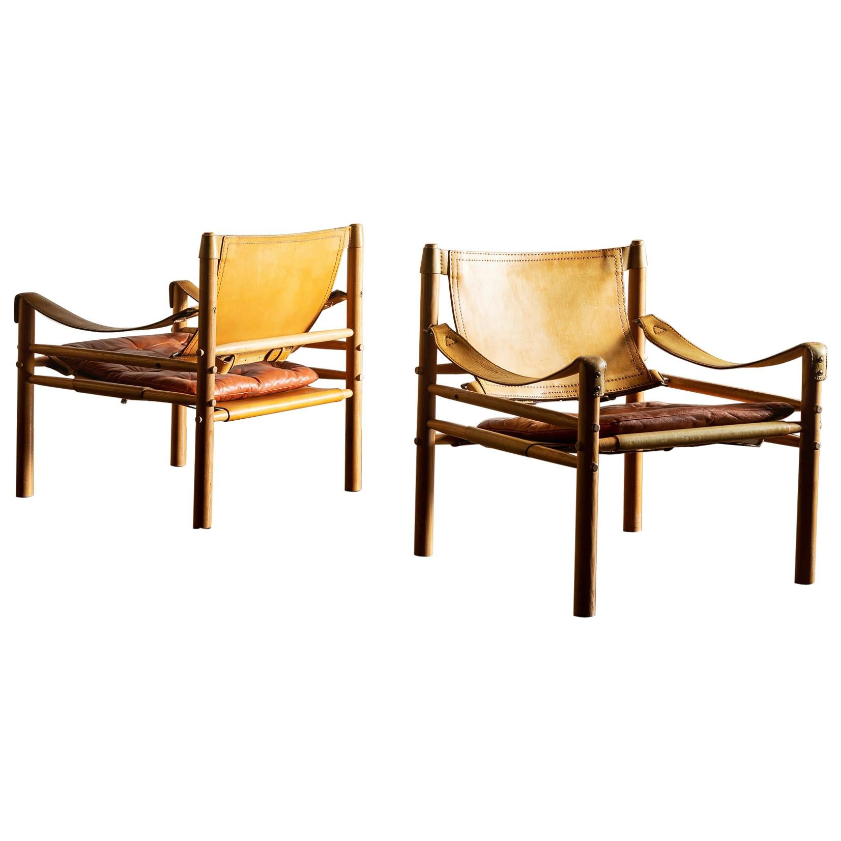 Pair of Arne Norell Sirocco Safari Chairs, Sweden, 1960s