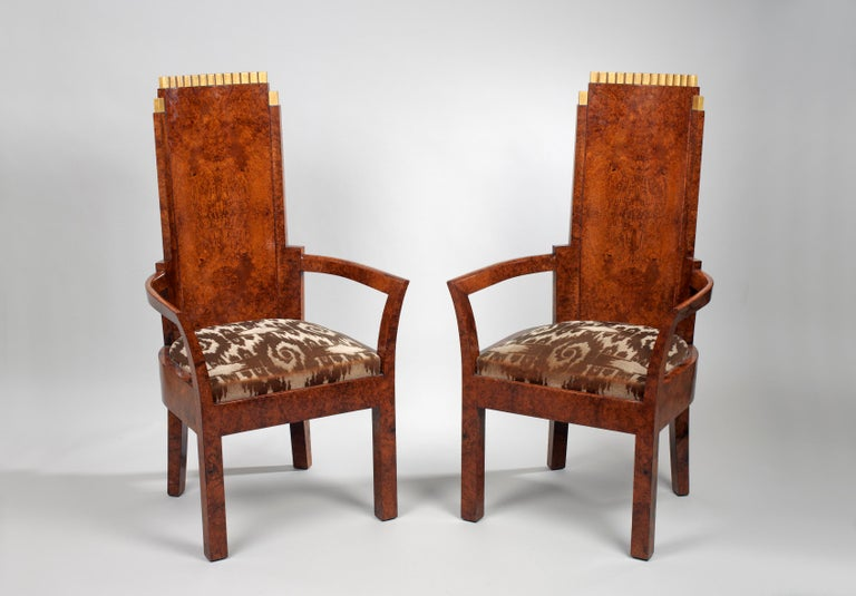 Veneer Pair of Art Deco Amboyna and Gilt Armchairs Attributed to Josef Hoffmann For Sale