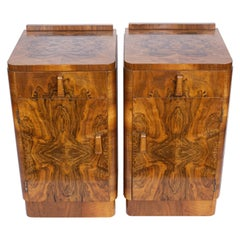 Pair of Art Deco Bedside Cabinets in Figured and Burr Walnut