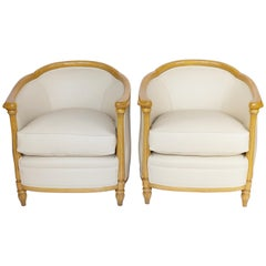 Pair of Art Deco Beechwood Tub Chairs, English, circa 1930