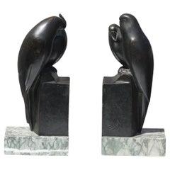 Pair of Art Deco Bronze Bird Bookends France, circa 1930